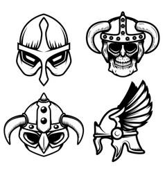 set viking helmets isolated on white vector image