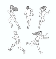 sketch running men ranaway women set vector image