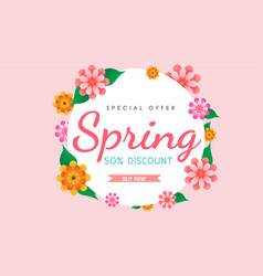 spring circle flowers vector image