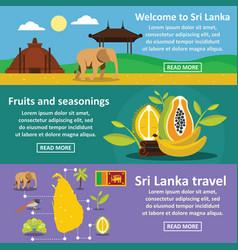Sri lanka travel banner horizontal set flat style vector