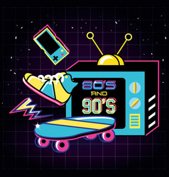 Televisor with icons of eighties and nineties vector
