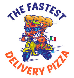 the fastest delivery of pizza vector image