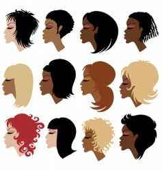 trendy hair styling for woman vector image