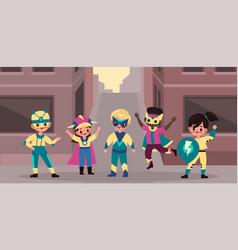 Urban superhero kids team brave children heroes vector