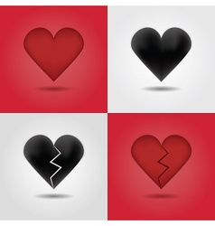 Valentines day heart icon set vector image