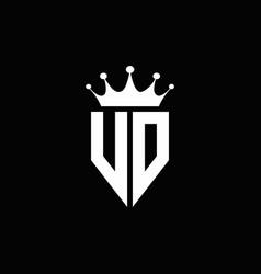 vd logo monogram emblem style with crown shape vector image