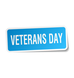 Veterans day square sticker on white vector