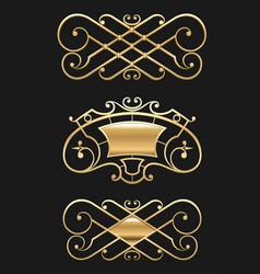 Vintage gold vignette set vector
