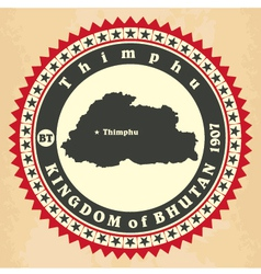 Vintage label-sticker cards of Kingdom of Bhutan vector image