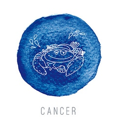 Watercolor crab cancer vector