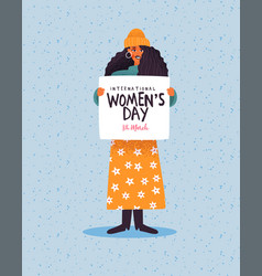 Womens day card woman holding protest sign vector