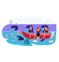 World ocean pollution people in boat plastic vector