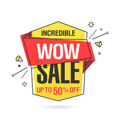 wow sale banner template in flat trendy memphis vector image