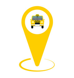 Yellow taxi icon map pin with taxi car sign vector