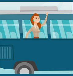 young caucasian woman waving hand from bus window vector image