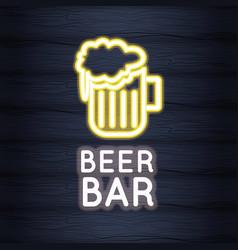 beer bar neon lights vector image