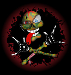 cool skull rocker vector image