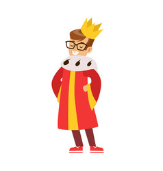 cute little boy dressed as a king colorful vector image