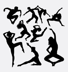 Dance activity silhouette vector image vector image