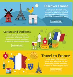france travel banner horizontal set flat style vector image vector image