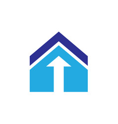roof home arrow logo vector image vector image