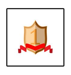Shield and ribbon red sign vector