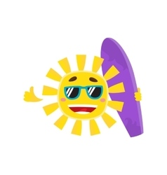 Smiling sun wearing sunglasses and holding surf vector