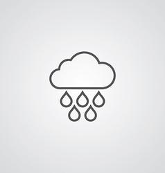 cloud rain outline symbol dark on white background vector image vector image