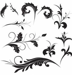 floral ornament elements vector image vector image