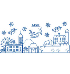 france lyon winter city skyline merry christmas vector image vector image