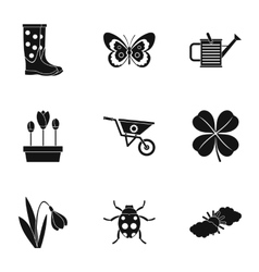 Garden icons set simple style vector image vector image