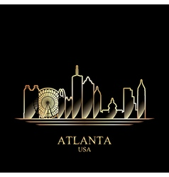 Gold silhouette of Atlanta on black background vector image vector image