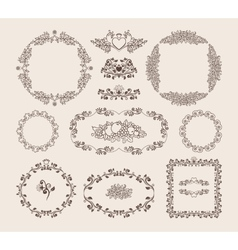 Set of ornamental frames and badges vector image