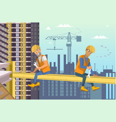two builders sit on beam above house construction vector image