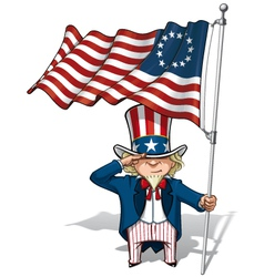 Uncle Sam Saluting the Betsy Ross Flag vector image vector image