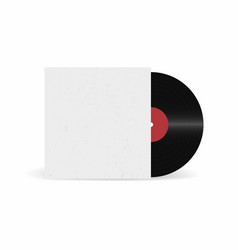 vinyl record with cover mockup retro sound carrier vector image
