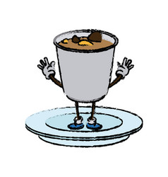 cartoon funny soup ramen food character japanese vector image vector image