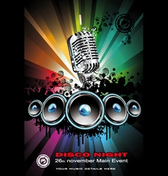 disco dancing singer night background vector image vector image