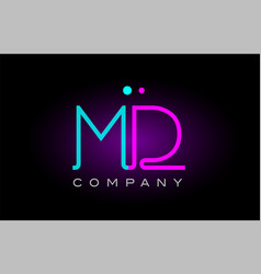 neon lights alphabet md m d letter logo icon vector image vector image