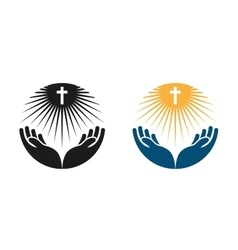 Religion logo Church Pray or Bible icon vector image