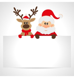 Santa claus and reindeer with a place for text vector