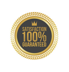 satisfaction guaranteed gold sign round label vector image