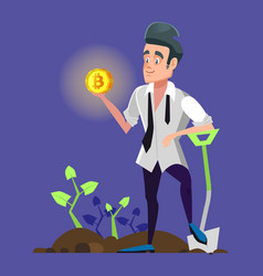 successful bitcoin miner holding golden coin vector image vector image