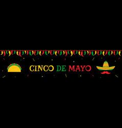 taco and sombrero cinco de mayo event web banner vector image