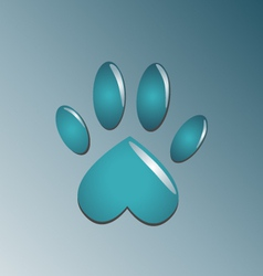 Water blue paw vector image