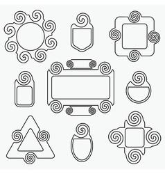 black retro line spiral icons design elements set vector image vector image