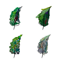 four stylized hand-painted spruce vector image vector image
