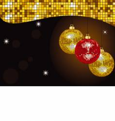 gold Christmas mirror baubles vector image vector image