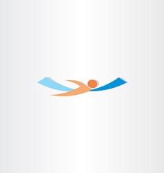 man swimming in sea logo vector image vector image