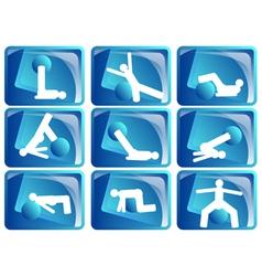 pilates icon set vector image vector image